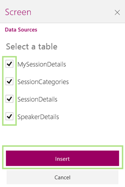 powerapps-select-tables